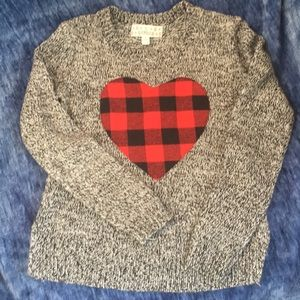 Grey Pink Republic sweater 7/8, red & black heart